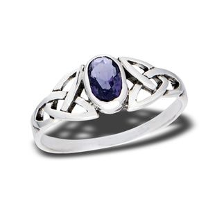 Petite Sterling Silver Celtic Amethyst Ring